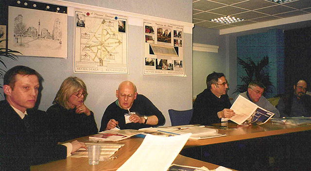 Francis Golding holding a Camden Report chairing the Environment Committee (L). An Environment Committee Meeting (R)