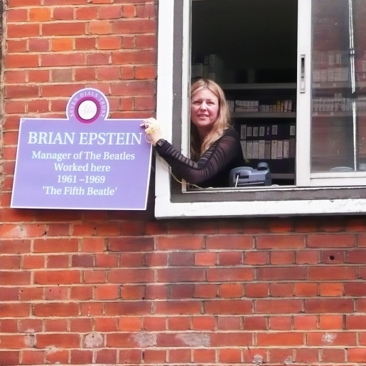 Testing the positioning with a mock up of the Brian Epstein plaque.