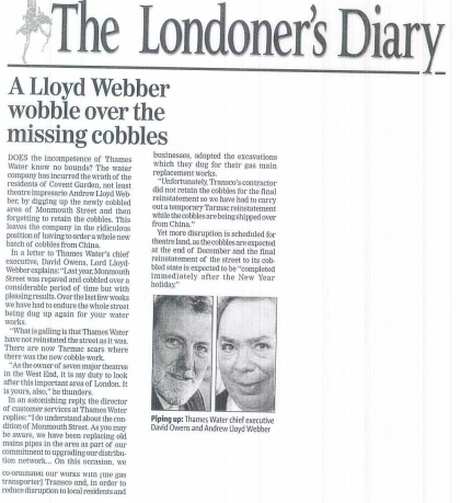 2008—A Lloyd Webber wobble over the missing cobbles