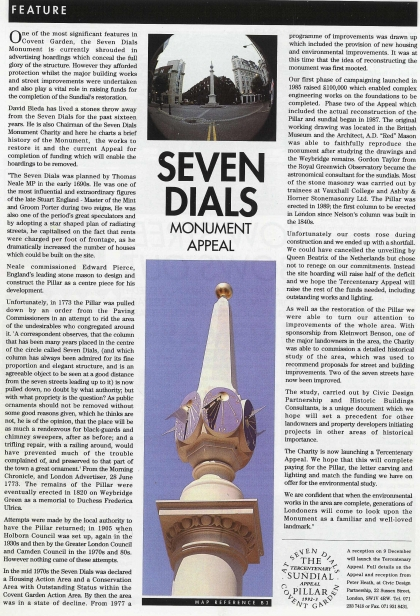 1992—Seven Dials monument appeal