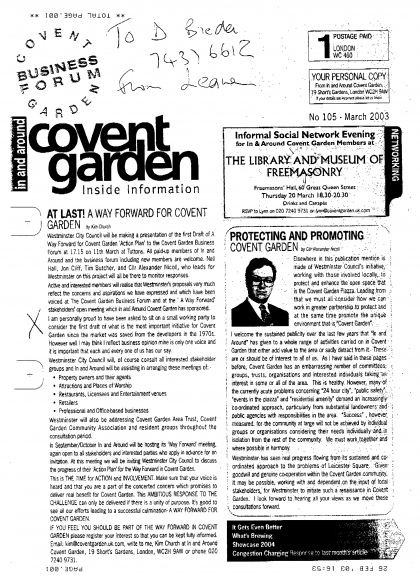 2003—At last! A Way forward for Covent Garden